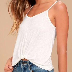 Soft white front-knot tank top